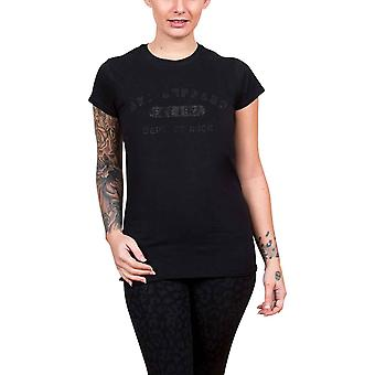 Def Leppard T Shirt Collegiate Logo new Official Womens Skinny Fit Black