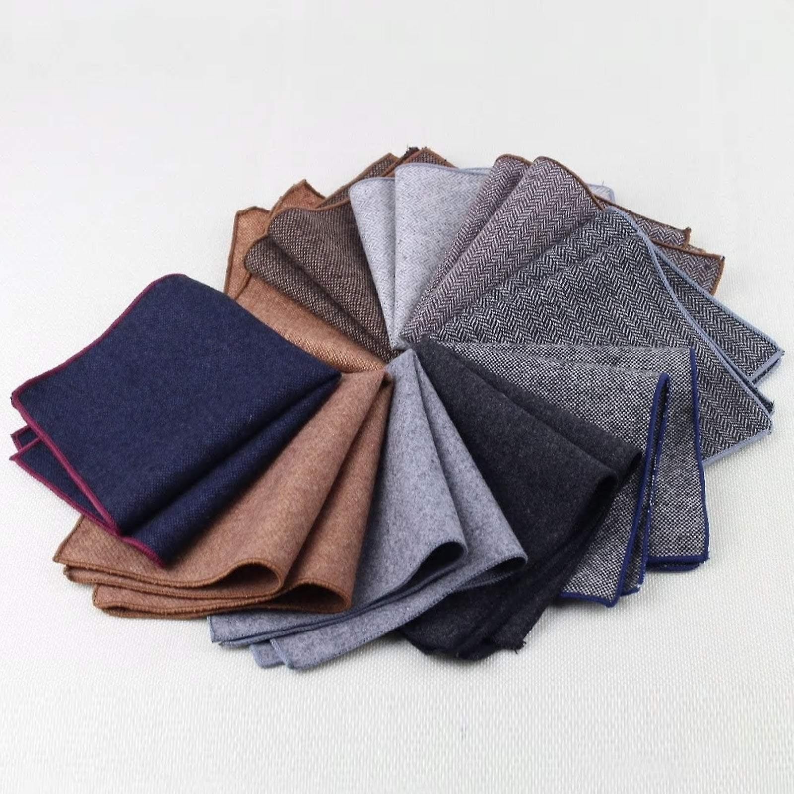 Rough texture purple thick tweed wool pocket square