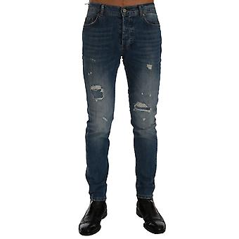 Frankie Morello Blue Wash Torn Dunfermile Slim Fit Jeans