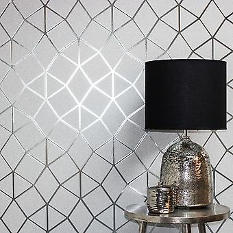 Platinum Geo Trellis Texture Wallpaper Grey / Silver Fine Decor FD42489