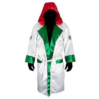 Cleto レイエス - メキシコの旗のフード付きサテン ボクシング ローブ