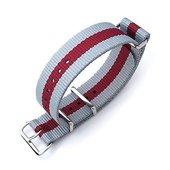 Strapcode n.a.t.o klokke stropp zulu g10 20mm eller 22mm militær klokke stropp ballistisk nylon armbånd, polert - grå & burgunder rød