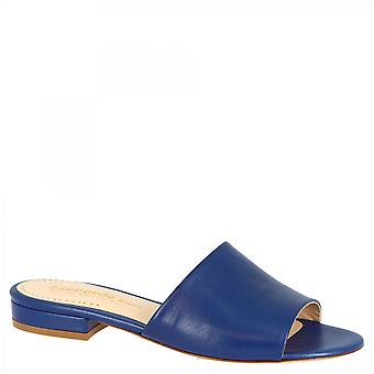 Leonardo Sko Women's håndlavede muldyr åbne sandaler blå kobolt napa læder