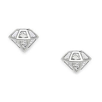 14k White Gold Cubic Zirconia Medium Diamond Shape Schroef terug Oorbellen maatregelen 7x8mm sieraden geschenken voor vrouwen