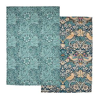 Morris & Co Strawberry Thief Set of 2 Tea Towels, Teal