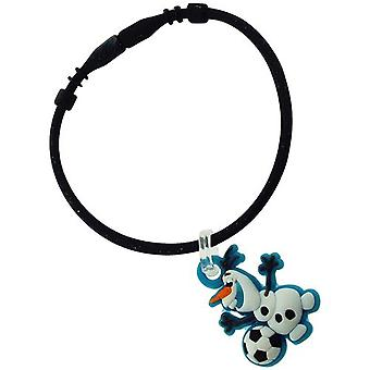 "Disney Frozen Kids Olaf Collectable Charm ""D"" Black Rubber Bracelet FJ1573"