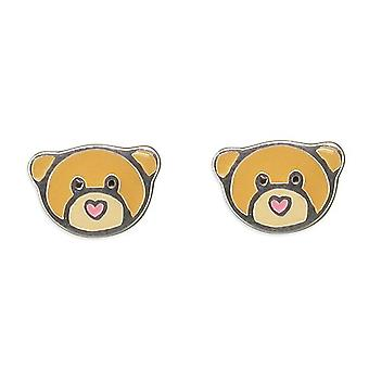 TOC Sterling Silver My Best Teddy Bear Earrings for Children