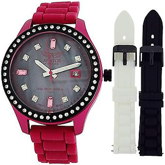 Aviator Ladies Analogue Date 3 Interchangeable Silicone Strap Watch AVX3666L4