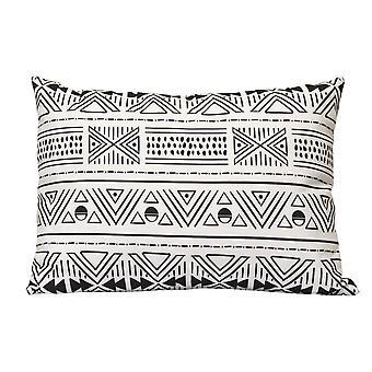Sort og hvid Tribal Mudcloth Indendørs / Udendørs Lumbar Pillow