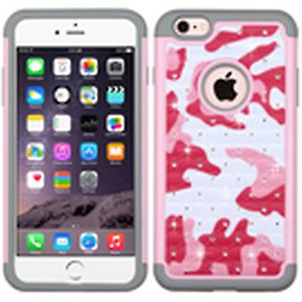 ASMYNA FullStar Protector Case for iPhone 6s Plus/6 Plus - Pearl Pink(Camo)/Gray