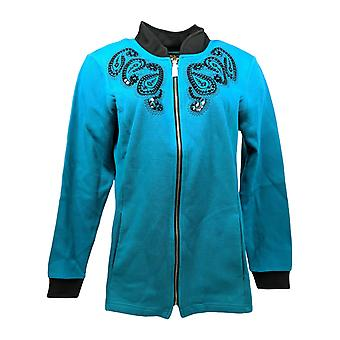 Bob Mackie Women's Embroidered and Sequined Zip Front Jacket Blue A279240