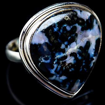 Large Indigo Gabbro Ring Size 11.75 (925 Sterling Silver)  - Handmade Boho Vintage Jewelry RING5337