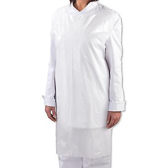 """Förpackning med 100 helt enkelt direkt vit Poly polyeten disponibla förkläden (107cm x 69cm - 42-tums x 27 """")"""