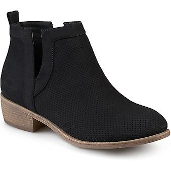 Journee Collection Womens Round Toe Pinhole Faux Suede Boots Black, 7 Regular...