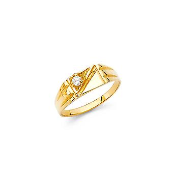 14k Yellow Gold Boys and Girls CZ Cubic Zirconia Simulated Diamond Ring Size 3 - .8 Grams
