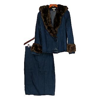 Masseys Set Fur-Trim Denim Jacket & Skirt Set Dark Wash Blue
