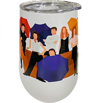 Friends Crew with Umbrellas 16 Oz Stainless Steel Wine Tumbler
