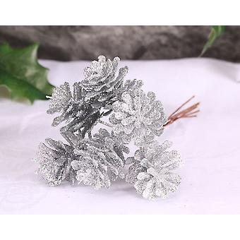 6 Small Silver Glitter Pine Cones on Wire for Floristry Crafts