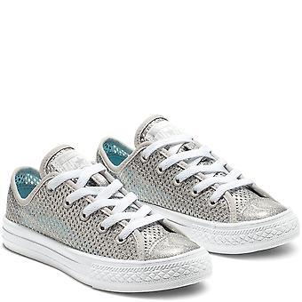 Converse Ctas Ox 664200C Silber Mädchen Schuhe Stiefel
