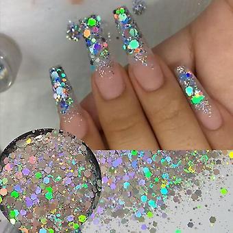 Flocos de lantejoulas laser de glitter holográficos - Glitters pó de pó de unha para unha