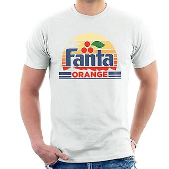 T-shirt retro do logotipo dos homens do por do sol de Fanta ' s