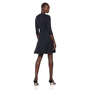 Lark & Ro Women's Faux Wrap Fit en Flare Dress, Navy, X-Small