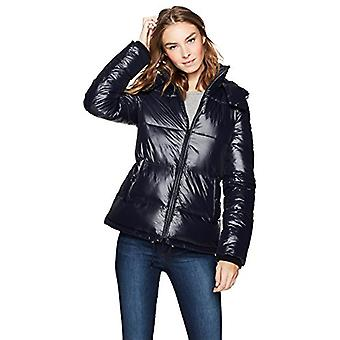 Haven Outerwear Women's Quilted Funnel-Neck Short Puffer Coat, Navy, Medium