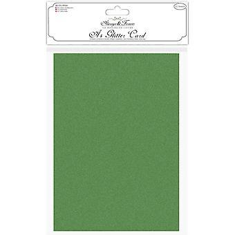 Craft Consortium Glitter -kortti A4 Forest Green