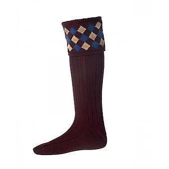 Hus Cheviot Country Socks Chequers ~ Bourgogne