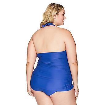 Coastal blue Women's Plus Size Swimwear Halter Swim Dress, Azul Antony, 1X (1...