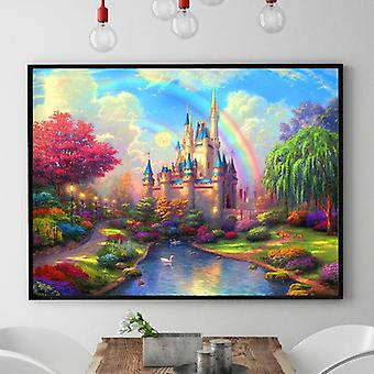 Rainbow Castle Patterns Counted Chinese Cross Stitching Diy Dmc Cross Stitch Embroidery Set