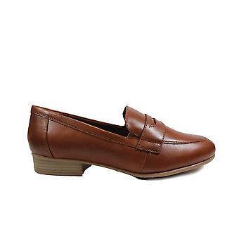 Tamaris 24215 Tan Leder Damen Slip Auf Loafer Schuhe
