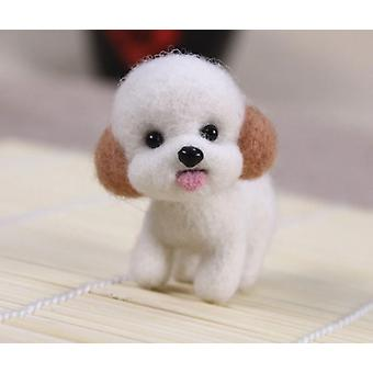 Fashion Women Summer Craft Handmade Lovely Dog Toy Doll Wool Felt Poked Kitting Kit