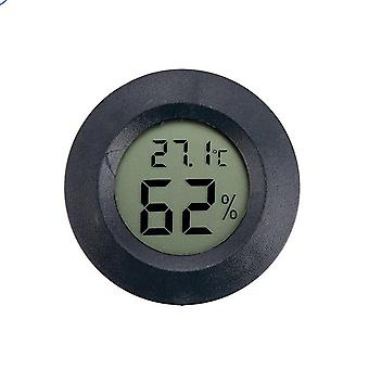 Runde Mini Digital Hygrometer Thermometer Schwarz