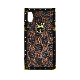 Phone Case Eye-Trunk Checkered Square For iPhone X Max (Brown)