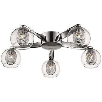 Lenteverlichting - 5 Light Flush Multi Arm Mesh Plafondlicht Chroom, Helder, G9