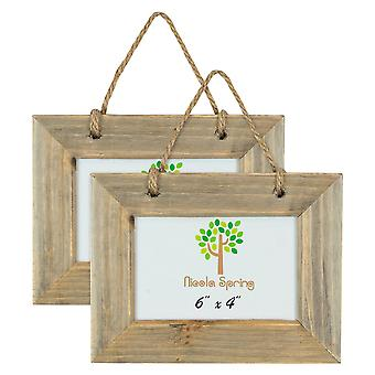 "Nicola Spring Set of 5 6 x 4 Wooden Hanging Photo Picture Frames - Fits 6x4"" Photos - Natural"