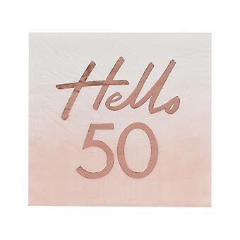 Hello 50 Rose Gold Paper Party Napkins - 50th Birthday Napkins x 16