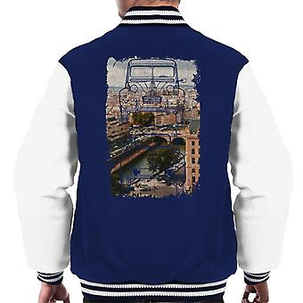 Citro?n 2CV Retro Drawing Over Paris Men's Varsity Jacket