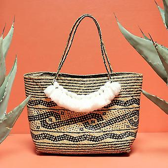 Natural Soft Rattan Straw Tote Bag With Tassels