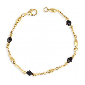 Gold-plated necklace With Black Crystal 45cm