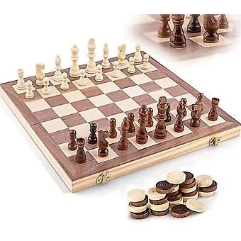 Trä Chess Set,handgjorda Chess Pieces,15 Inch Schackbräde , Vikbar,interiör Lagringsutrymme