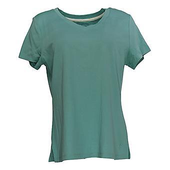 Isaac Mizrahi Live! Women's Top Essentials V-Neck T-Shirt Green A307536