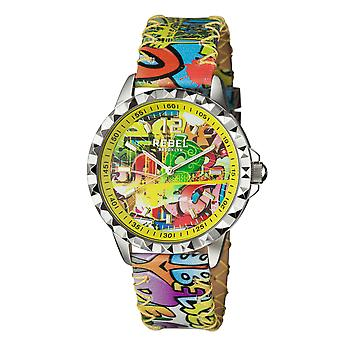 Rebel Women's Dumbo Yellow Dial Leather Watch