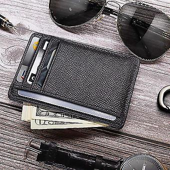 Men Card Holder Durable Pu Leather 6 Cards Slot Ultra-thin Lichee Pattern