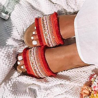 Women Slippers, Summer Rome Retro Sandals Flat Casual Shoes Female Slip On