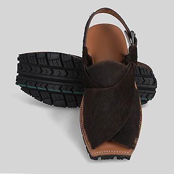 Mikaal natural mens cow hair on rugged leather sandals