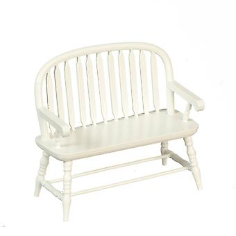 Dolls House White Wooden Colonial Windsor Bench Miniature 1:12 Scale Furniture