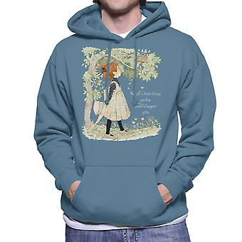 Holly Hobbie Natures Little Things Light Text Men's Hooded Sweatshirt