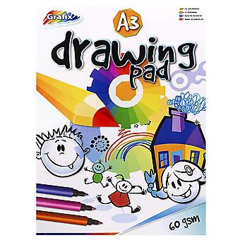 A3 drawing/sketching/painting pad - 40 sheets=80 pages - padded - size 420mm x 297mm